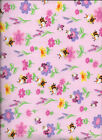 New Cute Little Bugs and Flowers on Pink Flannel Fabric by the Quarter Yard