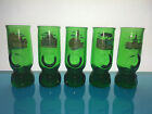 5 vintage green blown glass cordial aperitive shot glasses with ITALIAN cities