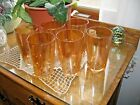 SET OF SIX CARNIVAL GLASS TUMBLERS IN MODERNE PATTERN BY JEANNETTE-MARIGOLD