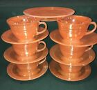 CUPS SAUCERS Fire King PEACH LUSTER 6 Sets USA Carnival Glass 3 BANDS Shiny