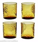 Set of 4 Anchor Hocking Honey Gold Amber Flower and Tree Design Tumblers RARE