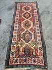 ANTIQUE 1900s Tribal Caucasian Rug Kazak Very Rare 3.5x9.3 Shirvan Kuba Stars