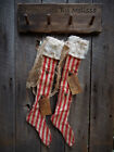 FoLk Art PrimiTive Red WhiTe CHRISTMAS STOCKINGS OrNies OrnamenTs DecoraTion TaG