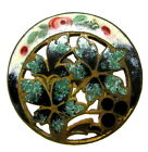 LOVELY ANTIQUE CHAMPLEVE ENAMEL BUTTON WITH OPEN WORK DESIGN E90
