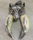 Chinese antique double boar tooth silver Wolf protective talisman pendant