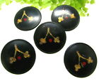 WONDERFUL SET OF 5 VICTORIAN GREEN COMPOSITION BUTTONS W/ PAINTED ACORNS E127