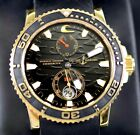 ULYSSE NARDIN 266-37 18k Gold 43mm Black Surf Maxi Marine Diver Watch #275/500