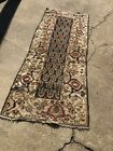 Old Antique Persian Wool Rug Runner Shabby Worn Slightly Distressed Cool Border