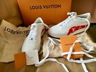 Louis Vuitton x SUPREME Monogram Red and White Sneakers Mens 6 NEW W BOX