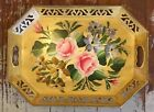 Old Vtg Hand-Painted Metal SERVING TRAY Toleware Roses Flowers Tole