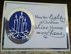 Handmade Christmas Card Kit Stampin Up blue glitter silver candles