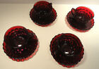 Royal Ruby Red Bubble Glass Anchor Hocking Cup and Saucer Set of Four