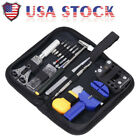 Watch Repair Tool Kit Opener Link Remover Spring Bar Free Hammer Carry Case BS