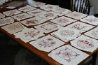 Vintage Cotton Quilt Squares 47 PC Red Embroidery on White 8 1/2 x 8 1/2