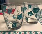 VINTAGE HAZEL ATLAS 2 SOUR CREAM GLASSES 1/2 PINT TURQUOISE