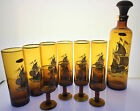vintage amber glass galleon ship decanter tumblers and aperitif glasses barware