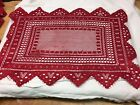 Oblong Red Lace Doily 18 X 12 NEW