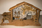 Box Homco Home Interiors Wooden Christmas Rustic Nativity Stable 59184 21X12X8