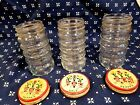 3 FIRE KING A.H RIPPLED CLEAR GLASS SHAKERS 2 PEPPERS/1 SALT-TULIPS ON THE LIDS