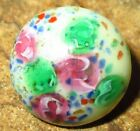 ANTIQUE VICTORIAN GLASS CHARMSTRING BUTTON w PRETTY FLOWERS ROSETTE SHANK  9/16