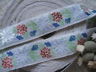 BLUE FLOWERS WITH GREEN RIBBON TRIM  1 YARD