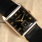 Mens 1949 Girard-Perregaux 14K SOLID GOLD Black Dial Square 17j Swiss Made Watch