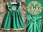 Smocked A Lot Girl Christmas Dress Green Gold Nativity Scene Silent Night Manger