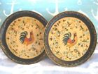 2 Vintage Black Cream Paper Mache Tole Tray French Country Roosters