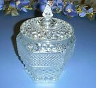 WEXFORD Glass Diamond Design Pattern COOKIE JAR Canister with Lid - Excellent!