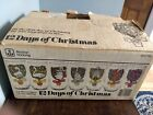 Vintage Anchor Hocking 12 Days of Christmas Glasses Set of 12 w/ Box Excellent