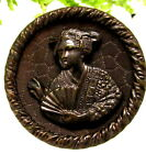 WONDERFUL VICTORIAN METAL THEATER BUTTON YUM YUM OR KATISHA H10