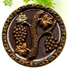 GORGEOUS VICTORIAN TINTED METAL BUTTON WITH CLUSTER OF GRAPES H37