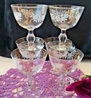 COTTAGE CHIC 1940s LIBBEY 6 ROSE CLASSIC CHAMPAGNE GLASSES FLORAL GOLD RIBBONS