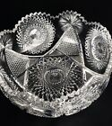 ABP American Brilliant Deep Cut Glass 925 Large Scalloped Bowl Heavy STUNNING