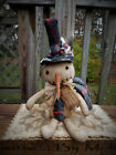 FOLK Art PRIMITIVE WinTer CounTry ChrisTmas Home SNOWMAN bOy DOLL DecoraTion TaG
