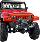 X Rock Crawler Front Bumper+Winch Plate+2xLED Light for 97 06 Jeep Wrangler TJ