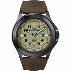 Timex T47012, Men's Expedition Brown Leather Watch, Indiglo, Date