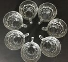 Clear Glass Geometric Punch Cups Wedding Tea Party Lot Of 7