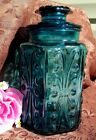 VINTAGE L.E. SMITH ATTERBURY SCROLL TEAL BLUE APOTHECARY/COOKIE JAR 9