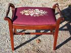 Floral Needlepoint Piano Bench Vanity Chair Sewing Stool