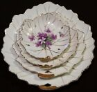 antique hand painted 4 piece nesting plate set with beautiful purple flowers