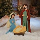 Large Nativity Scene Metal Outdoor Jesus Mary Joseph Christmas Yard 3 pc Set
