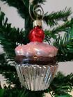 Chocolate Cupcake with Pink Frosting  Cherry Made in Poland Christmas Ornament