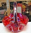 Vintage Smith Glass Signed Hand Crafted Red Carnival Glass Basket