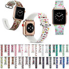 Silicone Watch Band Flower Floral Print Wrist Strap For Apple Watch Series 4 3 2
