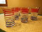 6 VINTAGE MID CENTURY ANCHOR HOCKING 10OZ TUMBLERS GLASSES RED WHITE BLUE STRIPE