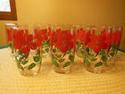 SET OF 8 VINTAGE MID CENTURY 16OZ TUMBLERS GLASSES RED FLOWER W/ GREEN FOLIAGE