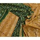 Sanskriti Antique Vintage Bandhani Green Saree Pure Silk Craft Zari Border Sari