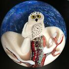 """3 1/2"""" Orient & Flume Limited Edition 53/250 Snowy Owl Art Glass Paperweight"""