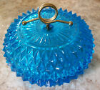 Vintage Indiana Glass Bowl with lid Diamond Point  Blue with Brass  5.5